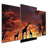 Bilderdepot24 Kunstdruck - Giraffen im Sonnenuntergang - Bild auf Leinwand - 100x60 cm dreiteilig - Leinwandbilder - Bilder als Leinwanddruck - Wandbild