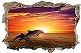 Delfine Sonne Natur Meer 3D-Optik Wandtattoo 70 x 105 cm Wandbild Sticker Aufkleber D145