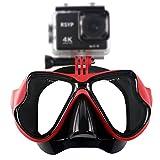 RSYP Gafas Buceo Máscaras de Buceo de cristal revestida para Submarinismo y Snorkel Compatible con cámara deportiva (Rojo)
