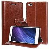 DMG Xiaomi Redmi 4A Flip Cover, Sturdy PU Leather Wallet Book Cover Case for Redmi 4A (Brown)
