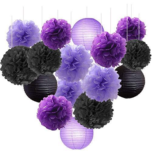 Erosion Brautduschen-Dekorationen Halloween-Dekorationen 16 STÜCKE schwarzer Lavendel lila 10inch 8inch Seidenpapier Pom Pom schwarz lila Party-Dekorationen