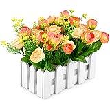 Giardino di rose in vaso da fiori artificiali false Louis staccionata confezione - piccola pianta da vaso Giallo/Arancione