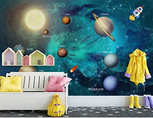 VVBIHUAING 3D Aufkleber Tapete Dekorationen Wandbilder Wand Träumerisches Galaxie-Karikatur-Kosmisches Kind Hintergrund Dekoration Kunst Kinder Zimmer (W) 400x(H) 280cm -