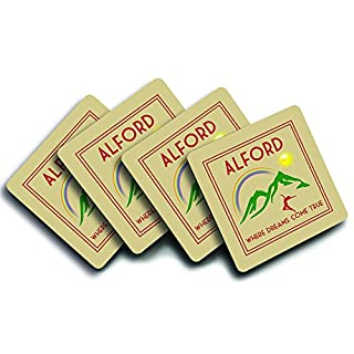 Alford, 'Where Dreams Come True', UK Town, City Or Village Location, Art Deco Style Humorous Design, Set Of Four Good Quality Drink Coasters, Size 90mm x 90mm.