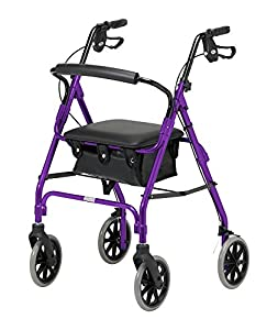 Days Lightweight Folding Four Wheel Rollator Walker with Padded Seat, Lockable Brakes, Ergonomic Handles, and Carry Bag, Limited Mobility Aid, (Eligible for VAT relief in the UK)