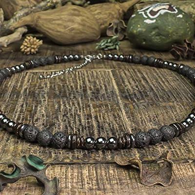 Collier Homme perles Ø6-8mm pierres naturelles Lave Volcanique Bois Cocotier/Coco Hématite en acier inoxydable/inox couleur argent COLLILAVISS