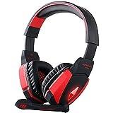 [último Auricular Gaming USB] KingTop EACH G4000 USB Estéreo Auriculares Gaming Headset de Diadema con Micrófono Control Volumen Luz LED para PC (Negro-Rojo)