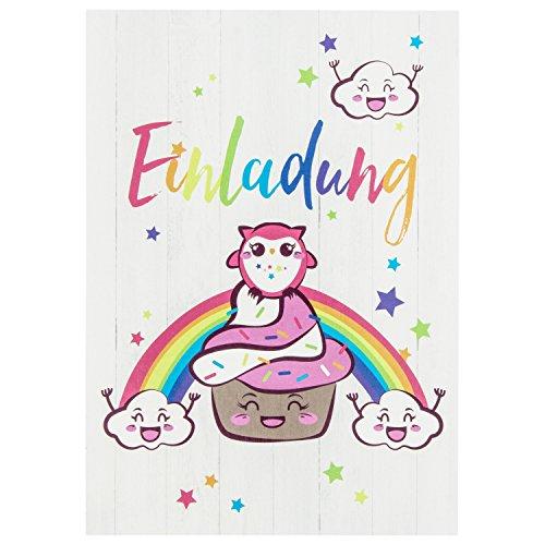 10 süße Vintage Cupcake-Einladungskarten mit Eule für den Kindergeburtstag – mit Regenbogen, Wolken und Sternen in Rosa – Geburtstagskarten für Mädchen und Jungen – ideal für jede Party