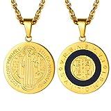 PROSTEEL Herren Halskette 18k vergoldet Heilig Benedikt von Nursia Kreuz Medaille Anhänger Männer Jungen katholischer Modeschmuck mit 55 + 5cm Singapurkette (Gold)