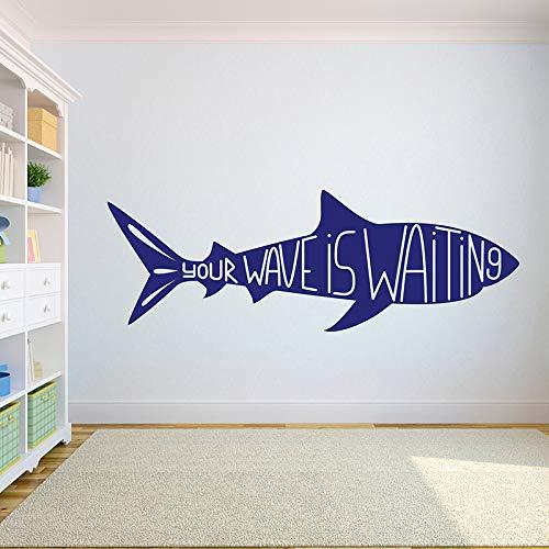 WSLIUXU Surfen Palm Shark Surfen Vinyl Diy Wandaufkleber Surfen Boy Wandtattoo Room Decorating Teen Boy Room Art Wandaufkleber Home Garden State Grau 26 121x42cm
