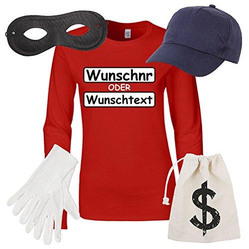 Damen Langarm T-Shirt Set Panzerknacker Kostüm Karneval Fasching Verkleidung Outfit SET16 LA-Shirt/WN/Cap/Maske/Handschuhe/Beutel M