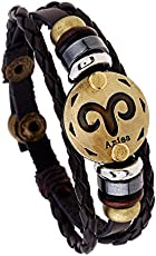Yellow Chimes Zodiac Sign Constellation Handmade Brown Leather Bracelet for Men and Women/Unisex