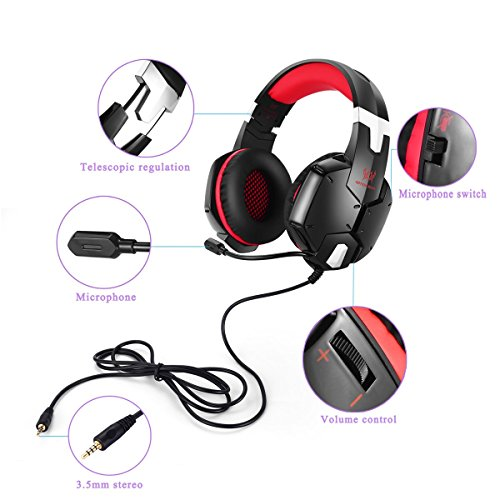 EasySMX Gaming Headset, PS4 PC CellPhones Stereo Gaming Headset also for Laptop Mobile Phones Tablet Adjustable Microphone Volume Control One-key Mute