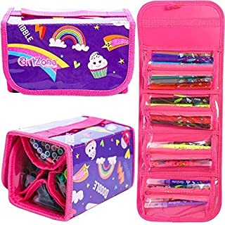 GirlZone: Fun Filled Pencil Case Including 38 Fruit Scented Marker Pens. Great Birthday Present Gift For Girls Age 3 4 5 6 7 8 9 10 11 12 Years Old.