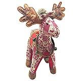 Wawer 48cm Neu Weihnachten Schottland Puppen Ornaments Plaid Hirsch Elch Stofftiere Plüsch Puppe Weihnachtsgeschenk Kinder Spielzeug (Rot)