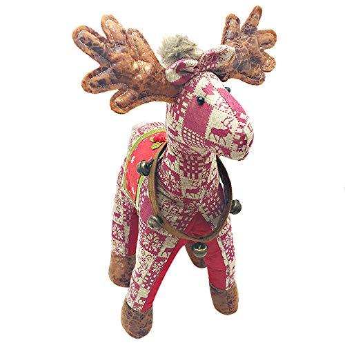 48 cm Neue Weihnachten Schottland Plaid Deer Elch Stofftiere Plüsch Spielzeug Weiche Tier Liebe Puppe Weihnachtsgeschenk Baby Kind Weihnachten Geburtstag Glücklich Bunte Geschenke von BZLine (Rot) -