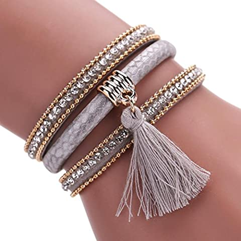 Fulltime(TM) Women Bohemian Bracelet Pearl Woven Braided Handmade Wrap Cuff Magnetic Clasp (Gray-1)