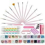 Czemo Nail Art Design Set con 15 Nail Art Pennelli,5 Dotting Pen,10 rotoli Nail Adesivo del Nastro della Striatura, 2 Scatole Colorate Chiodo Decorazione Kit per Unghie
