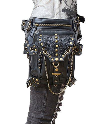 HenMerry Handtasche/Schultertasche, verschiedene Tragemöglichkeiten, Stil: Rock, Vintage-/Gothic-Stil, Retro-/Steampunk-Design, damen Herren, schwarz 1