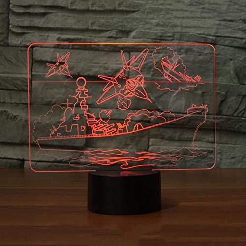 LLZGPZXYD 7 Couleurs Changeantes Avion Bateau LED Lampe De Table 3D Visual Plane Navire Veilleuses Nuit USB Éclairage De Sommeil Chambre Décoration De Chevet Cadeaux