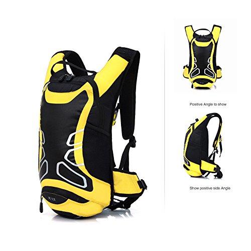 Lixada 12L Wasserabweisend Fahrrad Schulter Rucksack Wasser Reisetasche Ultralight für Radsport Outdoor Reiten Bergsteigen Hydration Gelb