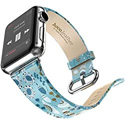 Watch Ban - HOCO Leather Strap Classic Buckle Watch Band Adapter For Apple Watch 38MM Blue