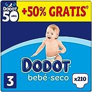 DODOT Bebé-Seco - Pañales Talla 3, 210 Pañales, 6-10kg, BOX ANIVERSARIO +50% GRATIS