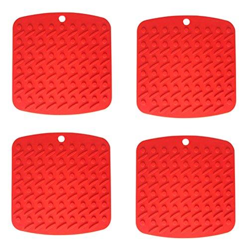 aikesi Coaster 4Stück rot-Form quadratisch Silikon Isolierung steras Matten rutschfest Küche Teppich Sockel Vase Terrakotta-Topf Teller Isomatte, 17.8* 17.2* 0.4cm