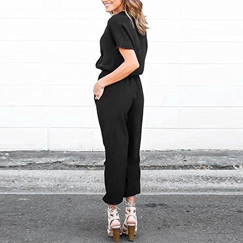 La Cabina Femme Sexy Combinaison Clubwear Playsuit Col V Taille Réglable en Chiffon pour Soirée Cocktail Noir
