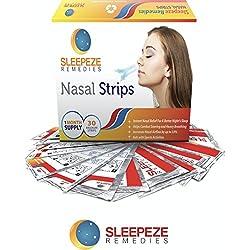 Nasenpflaster mittel x30 | Sleepeze Remedies® Nasenstrips stoppen das Schnarchen und helfen Ihnen durch die Nase zu atmen | Premium Qualität Schnarchstopper die nasale Stauungen unterstützen, Größe M
