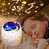 Projecteur Lampe Enfant, Veilleuse Enfant 360° Rotation + 6 combinaisons à gradation, 5 Films Magie, lampe de projection pour Les Enfants, Cadeau D'anniversaire, Noël, Anniversaire (White)