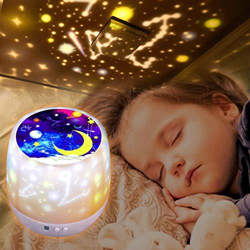 Lampara Proyector Estrellas Infantil, 360° Rotación, 6 Efectos de Luz, Lámpara Proyector Luz de Nocturna para Niños, Dormitorio, Cumpleaños, Luz de Guardería [Clase de eficiencia energética A] (White)