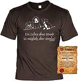 Veri Hundeversteher T-Shirt Ein Leben ohne Hund ist möglich, aber sinnlos Set Hunde T-Shirt und Urkunde Gr. XXL in braun :