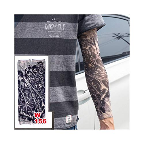 Temporäre Tattoo-Ärmel,Motorradhülle Sonnenschutz, Fake Temporäre Tattoo-Ärmel Tattoos Full Long Slip On Arm Tattoo Sleeve Kit Men Elastic Nylon Glove Tattoos Black Skull Design w156