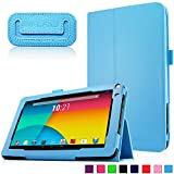 Infiland Premium Vegan Leather Case Cover for 9-Inch Android Tablet inclu. 9' Upgraded Dual Core Android Tablet PC, Haehne 9 Inch Android Tablet, JYJ 9 Inch Android 4.4 Kitkat Tablet PC, YONES 9' AMDROID 4.4 KITKAT TABLET PC, ProntoTec 9 Inch Touch Screen Tablet PC, Tagital T9X 9' Quad Core Android Tablet , TotalTab V3 9', Afunta 9', TabExpress 9' (PLEASE check the complete compatible tablet list under Product Description)(Blue)