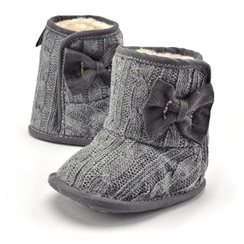 Delmkin Babyschuhe 0-18 Monate Baby Schneestiefel Winter warm Weiche Sohlen Babyschuhe Grau