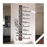 Wandtattoo Willkommen in 10 Sprachen Flur Diele Eingang Bordüre (ban03 braun) 120 x 57 cm mit Farb- u. Größenauswahl