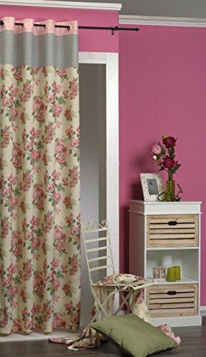 """Moderner Dekoschal Fertiggardine """" BEAUTIFUL ROSES """" - wundervolle hochwertige Optik mit zauberhaften rosa Rosen / Rosenblüten auf beige-farbenem Grund - trendiges Motiv - blickdicht - Größe 140 cm x 245 - ein BLICKFANG in Ihrem Wohnbereich - aus dem KAMACA-SHOP (mit Ösen, mit grauer Kante)"""
