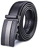 Xhtang Gürtel Herren Automatik Gürtel mit Automatikschließe-3,5cm Breite, Schwarz15, Länge 115cm Geeignet für 30-36 taille