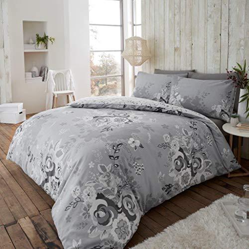London Bedding Eaton 100% Coton brossé Thermique en Flanelle avec Housse de Couette Taie d'oreiller Parure de lit (Eaton Gris, King)