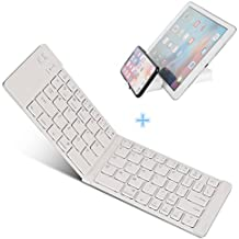 Teclado Bluetooth Plegable, IKOS pórtatil Teclado Inalámbrico Mini peque Ultra delgado Teclado de móvil QWERTY para iphone iOS Android PC Windows Samsung iPad Air Pro Nenux Lenovo HUAWEI SmartPhone Box TV etc