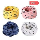 Danolt 4 PCS Multiuso Sciarpa per Bambini, 2 in 1 Cute Cappello del Cotone Sciarpa O-Scaldacollo Loop per Bambino 0-5 Anni