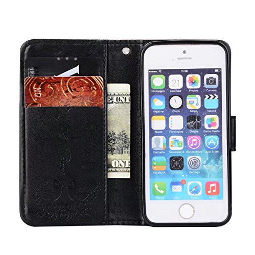 Embossing Bird Pattern PU Ledertasche mit abnehmbarem Back Cover, Flip Stand Wllet Tasche mit Lanyard & Card Slots für iPhone 5s & SE ( Color : Rosegold ) Black