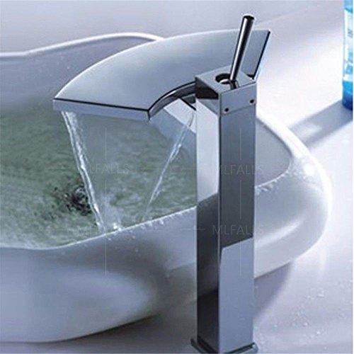 YSRBath Moderne Waschbecken Waschtischarmatur Antik Silber verchromt Messing Wasserfall Einzigen Griff Kalte und Warme Fan-Shaped Becken Mischbatterie Bad Küche Wasserhahn Badarmatur (Antik Messing-finish Fan)