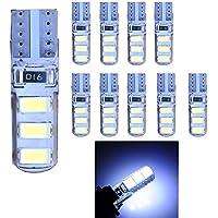 Bombillas de luz LED 501 W5W T10 6-SMD 5630 Ruecious de alta potencia color blanco 168 194 2825 LED para el interior del coche, la placa o el baúl; paquete de 10 unidades