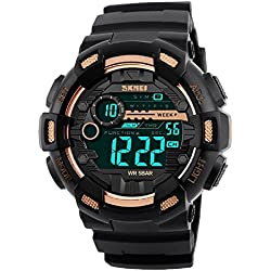 Skmei Multifunction Chronograph Digital Sports Watch For Men (RoseGold)