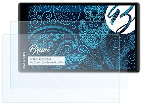 Bruni Schutzfolie für Garmin DriveSmart 61 LMT-D Folie, glasklare Displayschutzfolie (2X)