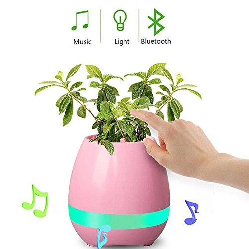 Musik Blumentopf Bluetooth Wireless Lautsprecher Nachtlicht USB Ladegerät Smart Runde Nette Blumentöpfe Blau Rosa Weiß Blau Indoor (Keine Anlage) (Rosa)