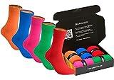 gigando | colorful Baumwoll-Socken | kräftige Farben für Damen und Herren | Hand gekettelt | extra feines Maschenbild | trendige unifarbene Strümpfe | 5 Paar | rot, grün, blau, orange, rosa | 39-42 |