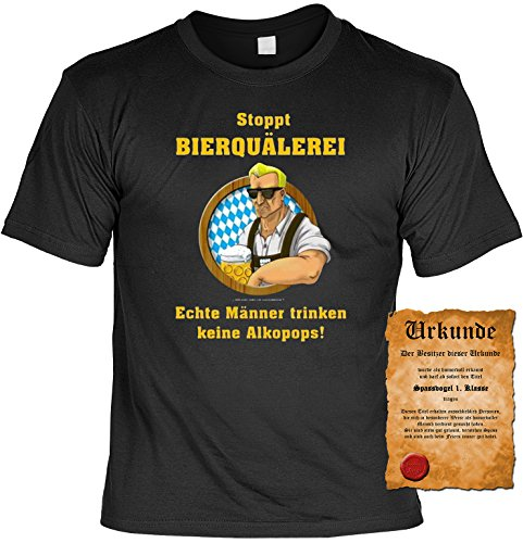 Sprüche Fun T-Shirt mit gratis Spass-Urkunde Geburtstags-Weihnachts-Vatertags-Geschenk viele tolle Bier Alkohol Party Motive Übergrößen 3XL 4XL 5XL schwarz-12